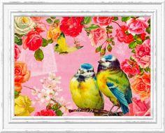 Paper Napkins Set of 4  VINTAGE ROSE Birds by LanternsByTamara