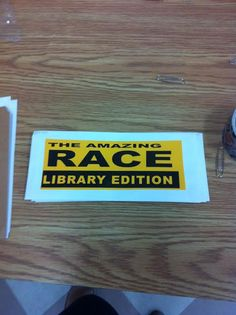 Amazing Race: Library Edition - Step by Step guide on how to run a library program on a small budget (Step Challenge Competition) Library Games, Library Events, Library Skills, Library Activities, Library Books, Library Ideas, Teen Activities, Library Inspiration, Teen Library Space