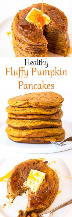 The perfect fall breakfast or dessert. The fluffiest pumpkin pancake recipe. Delicious and even comes with 2 healthy topping ideas.