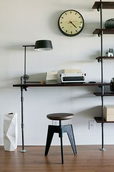 shelving: would really like to do this in next house for a living room work space.
