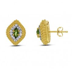 Viola, Marquise-cut Peridot & White Topaz Earring in Sterling Silver Yellow Plated