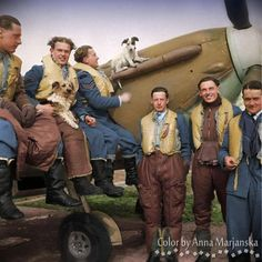 "Pilots from No. 303 (""Kościuszko"") Polish Fighter Squadron with one of their Mk II Spitfires, resting from the strain of heavy fighting during the 'Battle of Britain' in the late summer of 1940 (from left): Sgt Kustrzynski, Sgt Popek, Sgt Szlagowski, F/O Feric, P/O Daszewski and F/O Zumbach.  Kustrzynski, Szlagowski and Zumbach survived the war. Daszewski was killed in action in 1942. Feric and Popek both died in active service, 1942 and 1944 respectively."