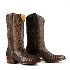 Caiman Boot in Brown - French Toe - Heritage Boot Buy Boots, Mens Shoes Boots, Men's Shoes, Red Cowboy Boots, Western Boots, Western Cowboy, Western Style, Unique Boots, Cool Boots