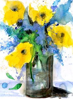 Rine Philbin - Yellow and Blue Flowers Watercolor on Paper, Paintings Acrylic Painting Flowers, Love Painting, Watercolor Flowers, Painting & Drawing, Watercolor Paintings, Watercolor Ideas, Flower Paintings, Acrylic Paintings, Watercolours