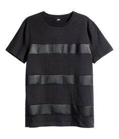 Black T-shirt with faux leather stripes. | H&M For Men