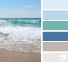color escape color palette from Design Seeds Bedroom Paint Colors, Bathroom Colors, Beach Color Palettes, Summer Colour Palette, Ocean Color Palette, Summer Colours, Deco Zen, Nautical Colors, Beachy Colors