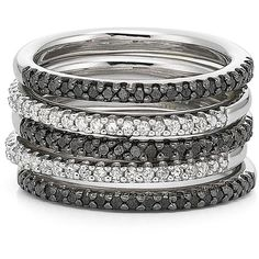 Color-Enhanced Black Diamond 5-Pc. Ring Set ($200) ❤ liked on Polyvore featuring jewelry, rings, bracelets, accessories, women, stackable rings, enhancer jewelry, round ring, black diamond jewelry and black diamond stackable ring