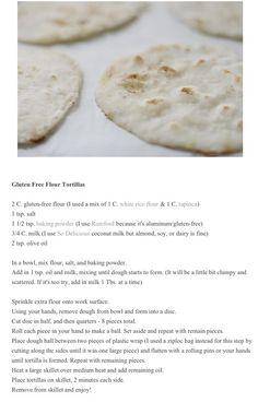 Gluten free: soft tortillas for breakfast tacos! Gluten Free Flour, Gluten Free Cooking, Vegan Gluten Free, Allergy Free Recipes, Gf Recipes, Cooking Recipes, So Delicious Coconut Milk, Pan Sin Gluten, Foods With Gluten