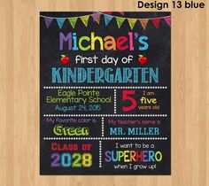 Personalized First Day of School Sign - Getting ready for back to school? Create some memories and start a new tradition with our First Day of School Sign. Simply print and use as is or put in a frame, for your child to use as a photo prop. Perfect for a first day of school photo on Facebook or your photo album!  ★★★ I can do ANY GRADE and AGE!!! ★★★  ★ Receive a high resolution JPEG or PDF file for printing.  ★ Can be printed at home, a photo lab, or at a copy shop.  ★ NO shipping cost…