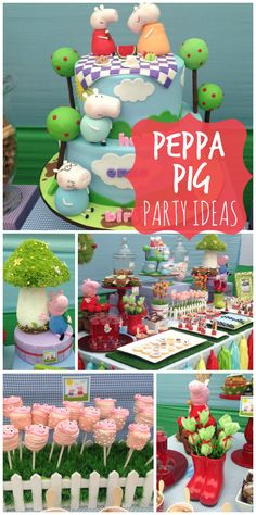 An amazing Peppa Pig girl birthday party with party decorations and a beautiful cake! See more party ideas at https://seniorsource.com/