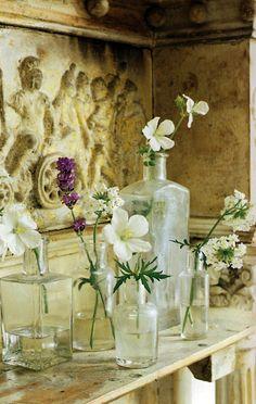 old bottles make perfect bud vases
