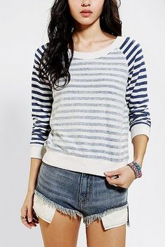 Alternative Striped Colorblock Pullover Sweatshirt in  from Urban Outfitters on shop.CatalogSpree.com, your personal digital mall.