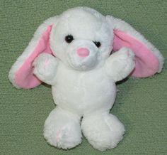 "Vintage 1985 DAKIN Plush White Bunny Rabbit Pink Ears 9"" Stuffed Animal Toy HTF #Dakin"