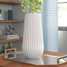 Chic Simonton White Textured Table Vase by Three Posts Home Decor Furniture from top store Tall White Vase, White Vases, Vase Crafts, White Texture, Ceramic Table, Home Decor Furniture, Furniture Sale, Decorating Small Spaces, Texture Design