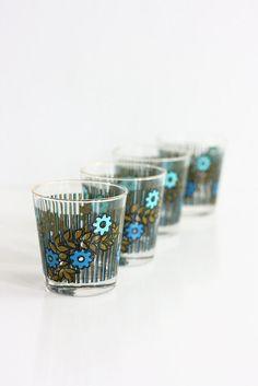 Vintage Mid Century Modern Colorful Flower Drinking Glasses