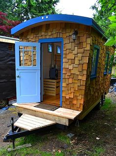 If you've been wanting a tiny house on a trailer to call your own, and you don't like the idea of climbing a ladder up to a sleeping loft, then this one might be yours. This particular …