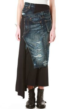 JUNYA WATANABE - Long Flared Skirt In Wool Gabardine With Treated Denim Applications