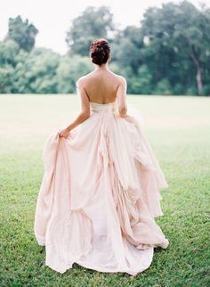 Pretty in a pink wedding gown. #inspiration