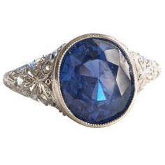 1920s Ceylon Sapphire Platinum Engagement Ring
