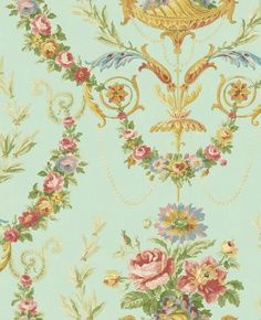 Pastel Victorian Floral Blue Wallpaper Double Roll Bolts for sale online Wallpaper Samples, Print Wallpaper, Flower Wallpaper, English Style, Vintage Roses, French Vintage, Style Floral, Discount Wallpaper, Decoupage
