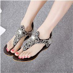fd71aa1e639ab 2016 new fashion 41 bling bling rhinestone beading wedge sandals for woman  2016 summer bohemian flip flops female shoes back zip