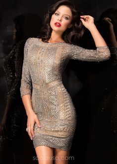 Scala 48493 Sparkling Beaded 3/4 Sleeve Cocktail Dress