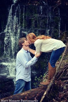 Rustic outdoor engagement photos waterfall