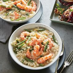 Lemon-Herb Risotto with Shrimp and Haricots Verts | MyRecipes.com