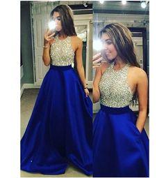 Gorgeous Dress,A-Line Evening Dresses,Crew Neck Formal Dress,Floor Length Royal Blue Prom/Evening Dress with Beading