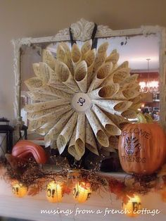 Musings From A French Cottage: Paper Cone Wreath