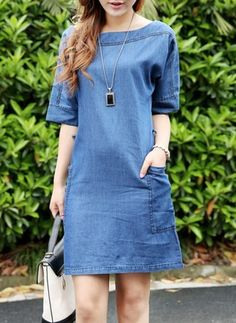 Collarless Patch Pocket Plain Cotton Casual Dress is hot sale on ByChicStyle, come to ByChicStyle to see more trendy Shift Dresses online. Stylish Dresses, Cute Dresses, Casual Dresses, Dresses Dresses, Shift Dresses, Cheap Dresses Online, Plain Dress, Vestido Casual, Ideias Fashion