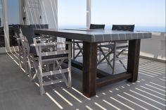 Outdoor dining table, custom made, concrete and solid chestnut, outdoor living, greek style Dining Tables, Outdoor Dining, Solid Wood, Concrete, Greek, Furniture, Home Decor, Style, Kitchen Dining Tables