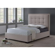 Montecito Queen-Size Upholstered Bed in Palazzo Mist (Khaki) Fabric