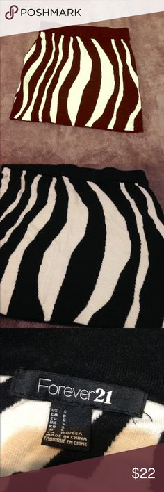 thick zebra print mini skirt. •LISTING INFO COMING SOON• -I will be listing stuff all day so in order to get everything listed I will be adding the info for each item later on. thank you for checking out my stuff and if you have any questions feel free to ask away!   Ⓜ️erc. ✔️ ✔️TRADES. 👎🏼NO holds. 📦Shipping same day or next.      •I do no ship Sat or Sun. Forever 21 Skirts Mini