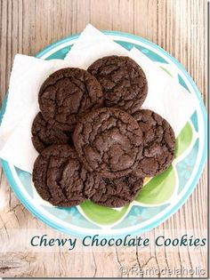 Chewy Chocolate Cookies Recipe With optional peppermint chips #recipe