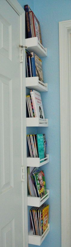 work great for behind door in playroom a lot of book storage in a small space great for cookbooks too