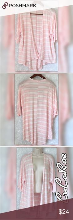 "LuLaRoe S Pink Striped Open Cardigan Kimono LuLaRoe S Pink Striped Open Cardigan Kimono. 58% Rayon 37% Polyester 5% Spandex pit to pit measures 28"" Length 36"" Gently Used with no flaws. Thank you LuLaRoe Jackets & Coats"