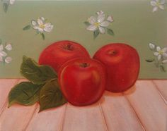 Original Oil Painting of Red Apples Still by SimplePleasureArt