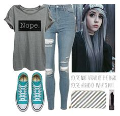 """""""Different is Good"""" by nerdgirl070 ❤ liked on Polyvore featuring Topshop and T-shirt & Jeans"""