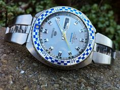 """Freshly restored Vintage Seiko """"rally diver"""" from Case rework with new gaskets by me. The movement was lovingly and skillfully restored by my friend Spencer K. It's just an awesome retro time piece and one of my all time favorite watches Fancy Watches, Vintage Watches, Seiko Mod, Breakfast For Kids, Vintage Japanese, Rally, Etsy Vintage, Bracelet Watch, Ebay"""