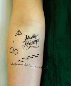 For the Harry Potter fanatic in your life. The Marauders Map Pack will help only those who swear they are up to no good, and want to manage mischief. Forarm Tattoos, Small Forearm Tattoos, Map Tattoos, Tattoo Small, Tatoos, Mischief Managed Tattoo, Golden Snitch Tattoo, Tiny Harry Potter Tattoos, Clever Tattoos