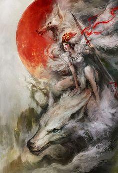 Arte Ilustrada Princess Mononoke                                                                                                                                                      Mais