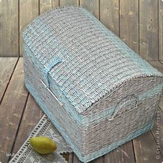 Поделка изделие Плетение Сундучок на заказ Трубочки бумажные фото 1
