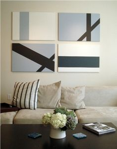 you could diy a large-scale, abstract multi-panel piece like this is the color of your choice, to fill a nice empty wall