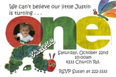 Very Hungry Caterpillar 1st Birthday Party Invitations -  Get these invitations RIGHT NOW. Design yourself online, download and print IMMEDIATELY! Or choose my printing services. No software download is required. Free to try!
