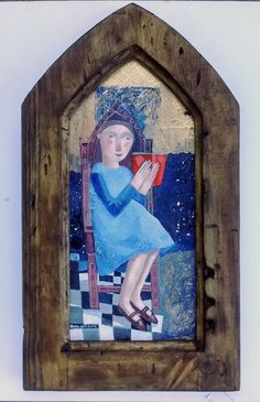 Girl Reading, original painting in Gothic style wooden frame by SharonMarieWinter on Etsy