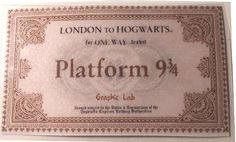 Biglietto Hogwarts Express Binario 9 e 3/4 Harry Potter Saga : Stampati di graphic-lab
