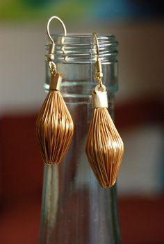 Golden Grass Earrings by MUSASSHOP on Etsy, $32.00