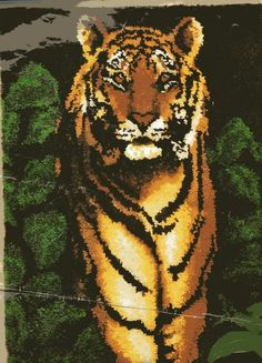 RARE Caron Jungle Tiger Latch Hook Rug Pattern Only No Yarn or Canvas Included | eBay