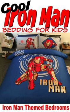Fun Iron Man Bedding for Kids - Decorate his room in an exciting Iron Man bedding. What a great bedroom theme. Orange Kitchen Decor, Rooster Kitchen Decor, Fall Kitchen Decor, Bohemian Bedroom Decor, Home Decor Bedroom, Modern Bedroom, Bedroom Fun, Boy Bedrooms, Bedroom Wall